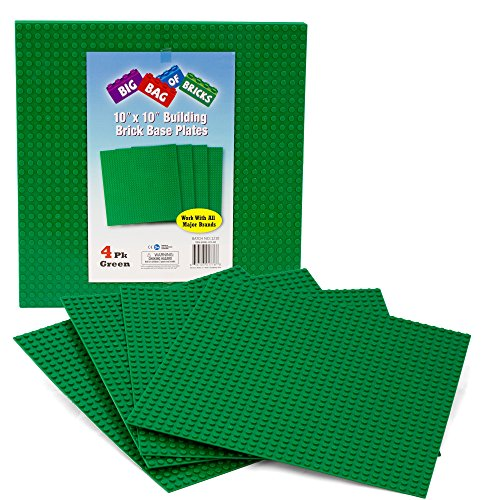 "Discount Brick Building Base Plates By SCS - Large 10""x10"" Green Baseplates (4 Pack) - Tight Fit with all major brick sets for sale"