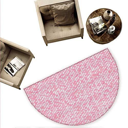 Alfombrillas redondas para puerta de color rosa y blanco inspiradas en la naturaleza con bordes de gerbera fresca con hojas...