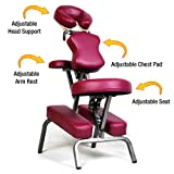 Ataraxia Deluxe Portable Folding Massage Chair w/Carry Case & Strap - Burgundy
