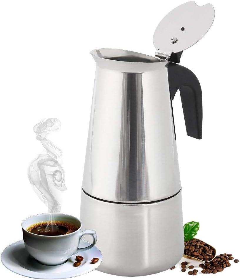 Cafetera italiana de acero inoxidable pulido con filtro permanente ...