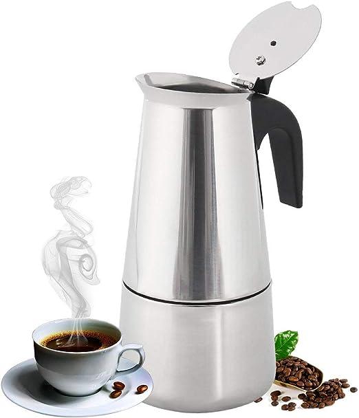 Cafetera italiana de acero inoxidable pulido con filtro permanente y mango resistente al calor para oficina en casa: Amazon.es: Hogar