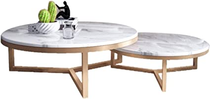 Xwzjy Marble Coffee Table Sets 2 Piece Overlapping Ending Tables Round Nesting Tables Light Furniture Size Optional Amazon Co Uk Kitchen Home