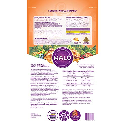 Halo Natural Dry Dog Food, Chicken Chicken Liver Recipe