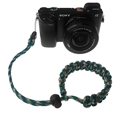 FoRapid Braided 550 Paracord Adjustable Camera Wrist Strap /Bracelet Quick Release Connector fits all camera lugs for Mirrorless Compact System DSLR Cameras, Binoculars - Dark Green/Brown/White