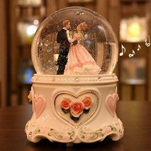 Lamp love Spieluhr Nachtlicht Spieluhr Winter Liebhaber Schneekugel Glas Kristallkugel Spieluhr Handwerk Home Desktop Decor Hochzeitsgeschenk