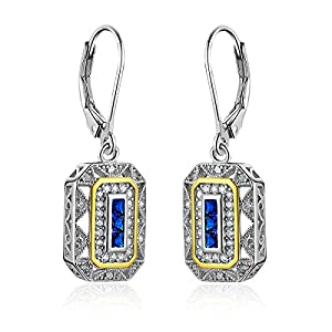 Newshe Gemstone Created Blue Sapphire Dangle Drop Earrings for Women 925 Sterling Silver White AAA Cz