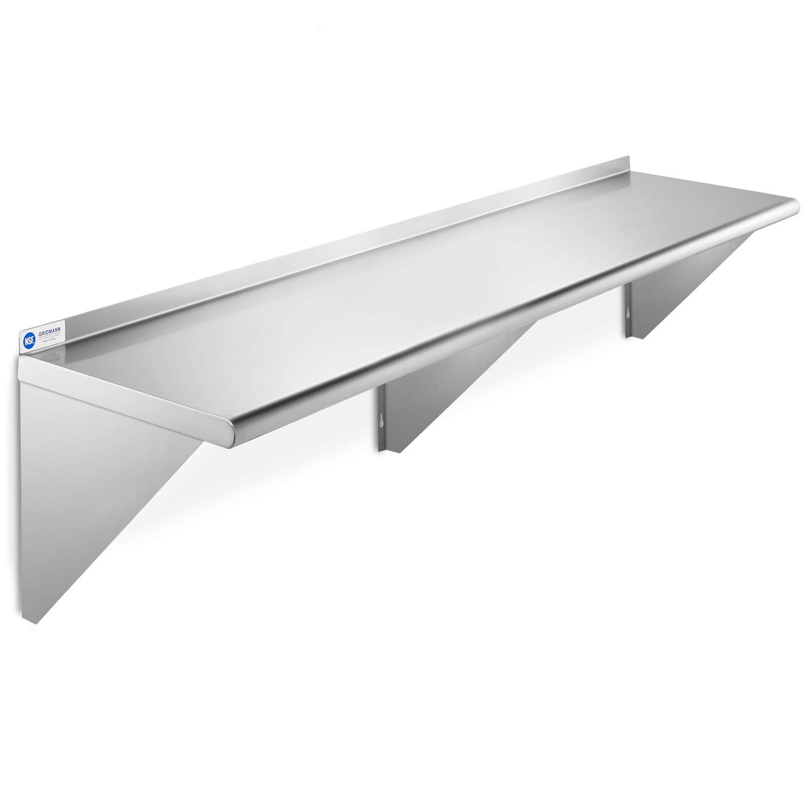 GRIDMANN NSF Stainless Steel Kitchen Wall Mount Shelf Commercial Restaurant Bar w/Backsplash - 14'' x 60'' by GRIDMANN
