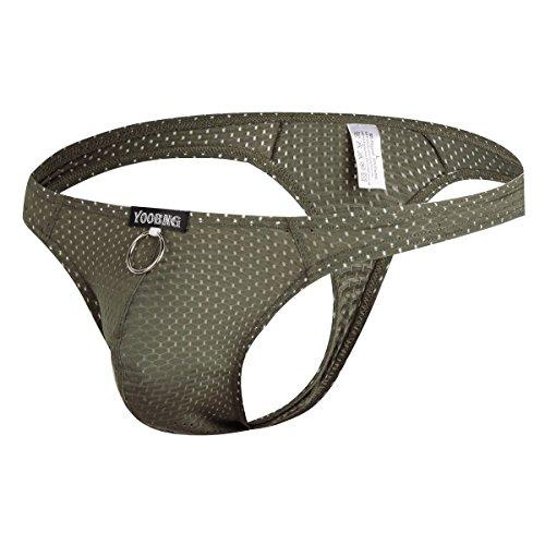 Mens Low Rise Bikini - YOOBNG Men's Sexy G-String Breathable Hole Underwear Bikini Low Rise Pouch Briefs Green