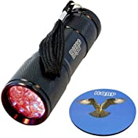 HQRP Portable Pocket Red Light Flashlight with 9 LEDs for Watching Iguanas and Snakes, Hamsters and Hedgehogs, Turtles and Reptiles at Night plus HQRP Coaster