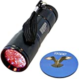 HQRP Portable Deep Red LED Flashlight 9 LED 630nm For Zoologists, Bird Watchers, Wildlife Photographers for Work at Night Time plus HQRP Coaster
