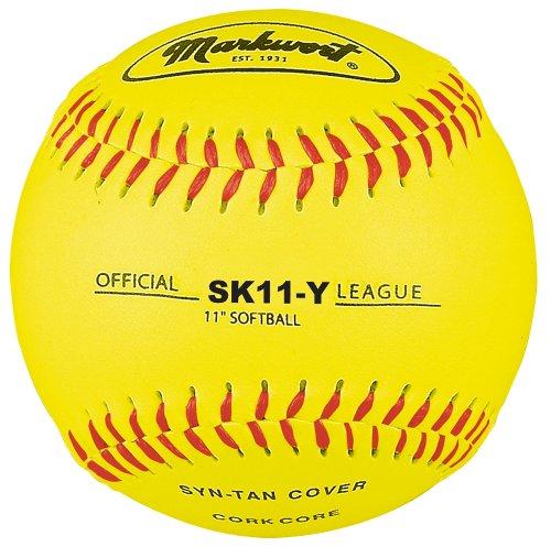 Markwort 11-Inch Synthetic Leather Cover Softball, Yellow (Dozen)