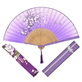 OMyTea Grassflowers 8.27''(21cm) Folding Hand Held Fans - With a Fabric Sleeve for Protection for Gifts - Chinese/Japanese Vintage Retro Style (Purple with Gift Box)