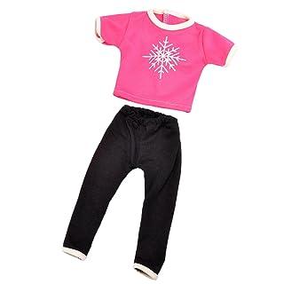MagiDeal Set di Abbigliamento per Bmabole Maglietta T-Shirt Top + Pantaloni per 18 Policci Ragazza Americana Doll - #4