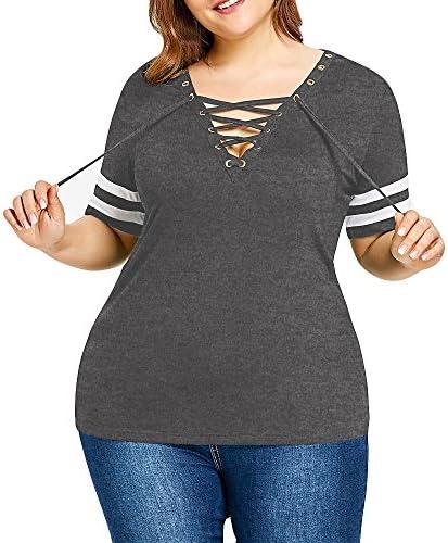 Proumy Camiseta de Algodón Mujer Blusa Cuello V con Tiras Cruzadas Camisa con Manga de Rayas Vestido Larga Tops de Talla Grande Ropa Sólida Ajustable Verano: Amazon.es: Ropa y accesorios
