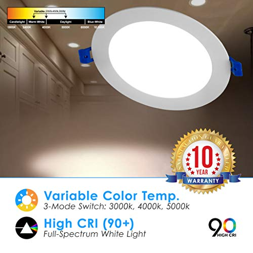 6'' Slim Recessed Panel Ceiling Downlight Ultra Thin Wafer with Junction Box; 14W=50W Equivalent; 3-in-1 CCT: 3000k/4000k/5000k, 950 lumens, 120V, Dimmable, IC Rated, ETL/ES/JA8 (6Pack) by Quest LED (Image #5)