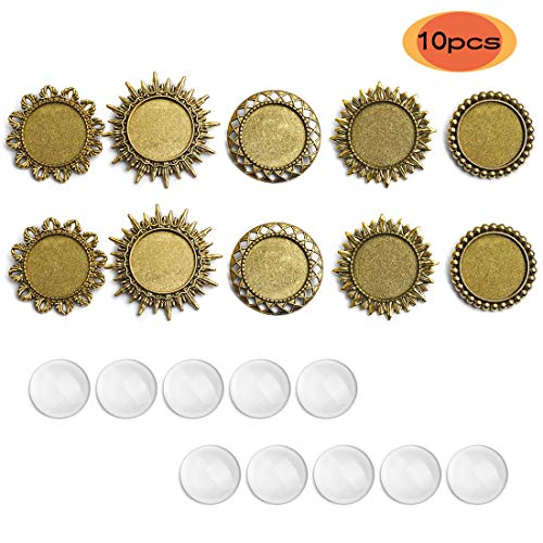 SEVENWELL 10 Sets Brooch Pins Trays,10pcs Alloy Round Pin Backs Base Setting Blank Bezel with 10pcs Glass Cabochons for Jewelry Making DIY