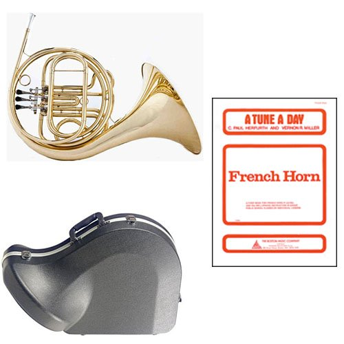Band Directors Choice Single French Horn in F - A Tune A Day French Horn Pack; Includes Student French Horn, Case, Accessories & A Tune A Day French Horn Book by French Horn Packs