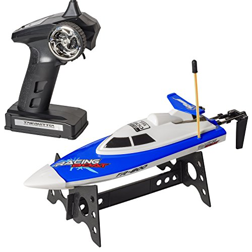 "Top Race® Remote Control Water Speed Boat, Perfect Toy for Pools and Lakes ""BLUE"" 27Mhz"