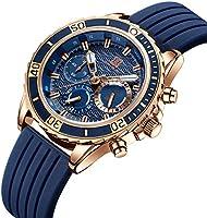 腕時計、メンズ腕時計 スポーツ ファッション クロノグラフ 多機能 日付表示 防水 アウトドア アナログクォーツ 時計 天然シリコーンバンド