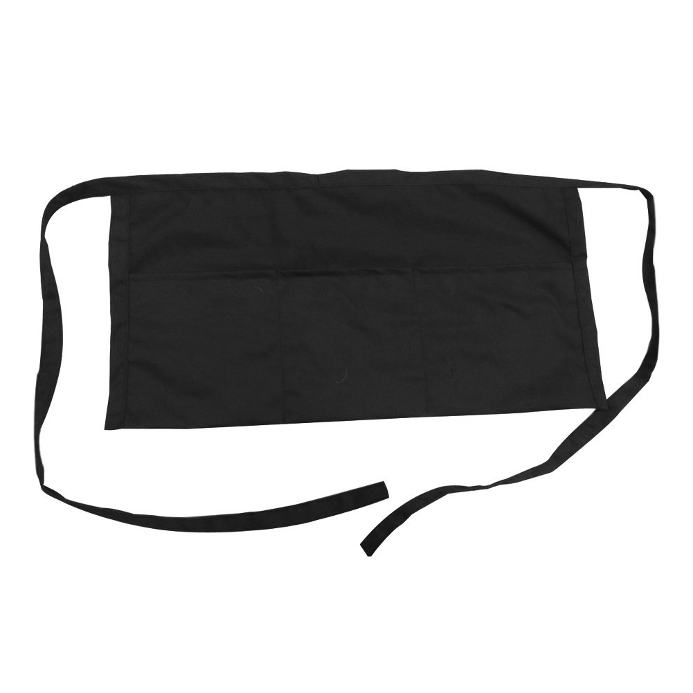 Opromo Adult's 3 Pocket Waist Apron, 23 1/2''W x 12''H BLACK-50PCS