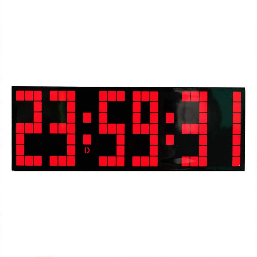 なデジタルLED壁掛け時計 LEDスヌーズウォールデスク目覚まし時計多機能リモートコントロールカウントダウン (色 : ブラック, サイズ : 24X8.5X5.5CM) ブラック 24X8.5X5.5CM