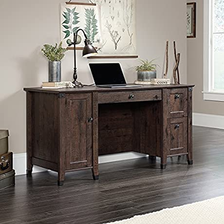 Sauder Carson Forge Compuer Desk In Coffee Oak
