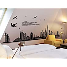 Silhouette CITY SKYLINE Wall Mural Decals PANORAMIC Art Room Decor Stickers