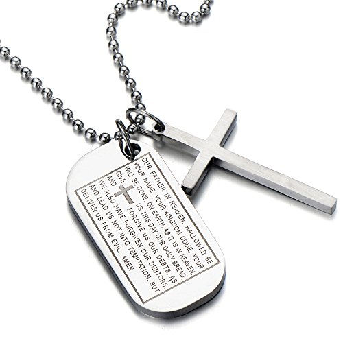 Dog Tag Bible (Two-pieces Mens Bible Cross Dog Tag Pendant Necklace Stainless Steel Silver)