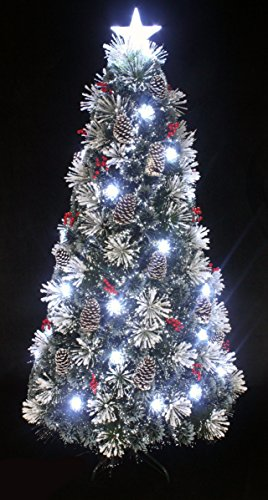 Snowy White Pine Pre-lit Flocked Christmas tree/Flocked Fiber optic Christmas tree with cool white LED light and star tree topper (3ft) (Christmas Frosted Artificial Tree)