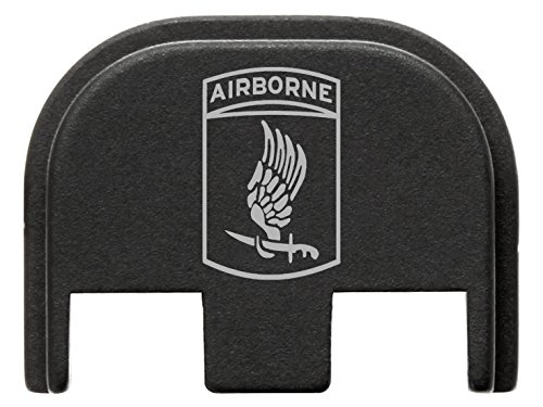 for Glock Gen 5 Back Plate 9mm 17 19 19x 26 34 Black NDZ Army 173rd Airborne Division Emblem (173rd Division Airborne)