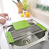 camper drain for sink - Angelbubbles Sink Drying Rack Stretchable With GIFT Cutting Board (Green)