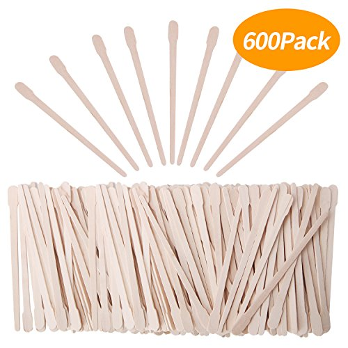 Senkary 600 Pieces Wooden Waxing Sticks Wax Sticks Wax Applicator Sticks Wood Wax Spatulas Sticks Small for Hair Eyebrow Nose Removal (With Handle)