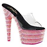 Womens Pink Platform Heels Neon Sandals Blacklight Slides Shoes 7 Inch Heels Size: 9