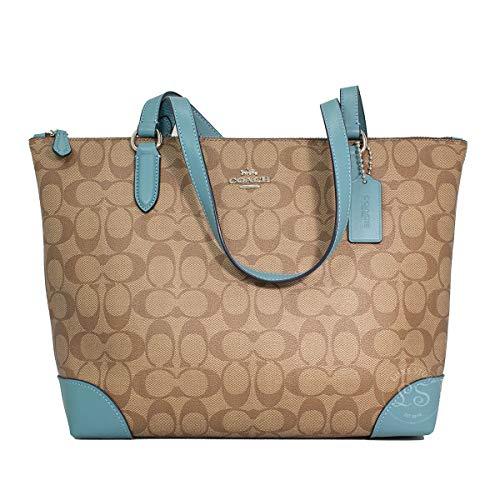 Coach Signature Zip Tote Shoulder Handbag (IM/Khaki Dark Turquoise)