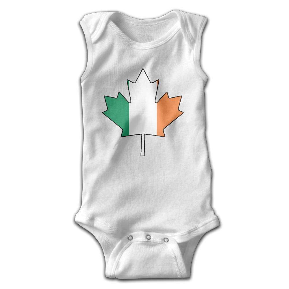 MMSSsJQ6 Canadian Irish Flag Baby Newborn Crawling Clothes Sleeveless Romper Bodysuit Rompers Jumpsuit White