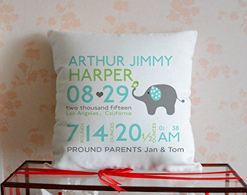 Cbojiuy Personalized Baby Birth Announcement Baby Elephant Decorative Pillow Cover 18x18 (Linen Personalized Baby Pillow)