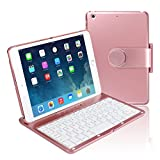 iPad mini123 Keyboard Folio Case, Koch Creative Wireless Keyboard Case Folio Smart with 360 Degree Rotation and Multi-AngleStand Viewing for iPad mini123 Tablet (Rose Gold)