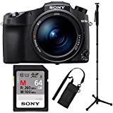 Sony RX10 IV Cyber-Shot High Zoom 20.1MP Camera with 24-600mm F.2.4-F4 Lens with 17.7 4-Way Sony VCTMP1 Monopod And Sony UHS-II 64GB SDXC Card Bundle