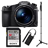 Sony RX10 IV Cyber-Shot High Zoom 20.1MP Camera with 24-600mm F.2.4-F4 Lens with 17.7'' 4-Way Sony VCTMP1 Monopod And Sony UHS-II 64GB SDXC Card Bundle