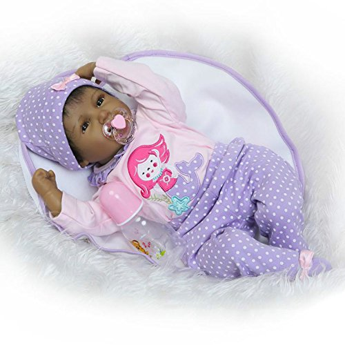 22 Inch Reborns Baby Dolls Girls Black Soft Vinyl Silicone Newborn Doll Lifelike Kids Magnetic Pacifier Toys Smiling (Reborn Doll Clothes)