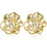 #7: XZP Fashion Prime Flower Clips Earring Made with Swarovski CZ Clip On Earrings for Women