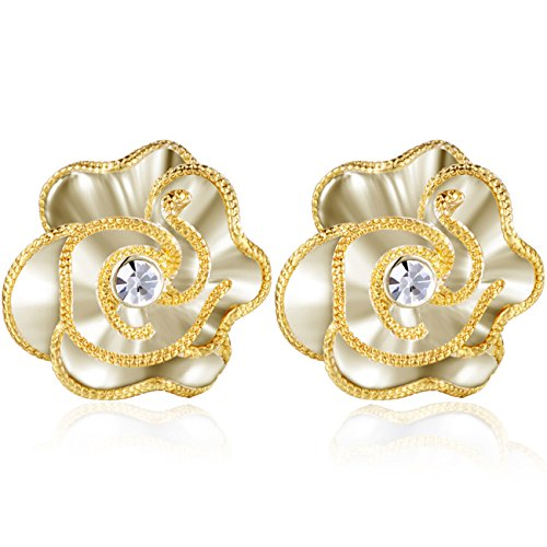 XZP Fashion Prime Flower Clips Earring Made with Swarovski CZ Clip On Earrings for Women