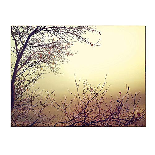 (SATVSHOP Art Canvas prints-32Lx24W-Nature Vintage Leafl s Autumn Tree Branch Background in Saturated Ton Ecology Art Sepia.Self-Adhesive backplane/Detachable Modern Decorative Art.)