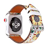 Herbstze for Apple Watch Band, Floral Print Leather Replacement iWatch Band Strap with Stainless Steel Metal Clasp for Apple Watch Series 3 2 1, Sport, Edition (Sunflower, 38mm)