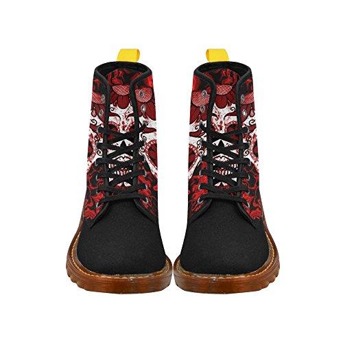 Leinterest Fractal Skull Rojo Martin Botas Zapatillas De Moda Para Mujer