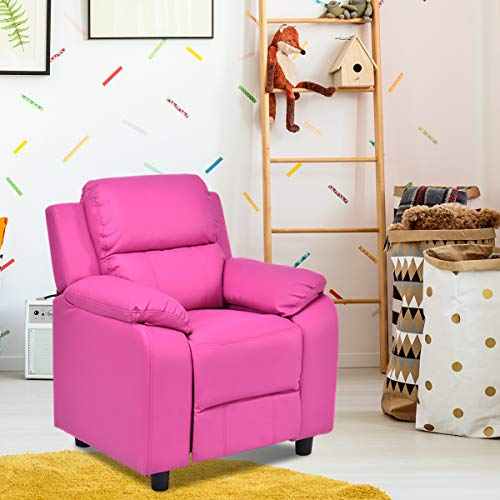 Costzon Kids Recliner Sofa, Children Contemporary PU Leather Armchair W/Deluxe Padded Backrest Flip-up Storage Arms for Toddler Boys Girls, Small Sofa Chair (Rose Red)