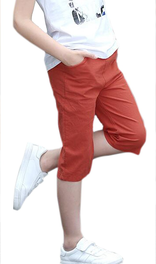 Lutratocro Boys Slim Capri Comfort Summer Thin Classic Fit Casual Children Shorts Red 17