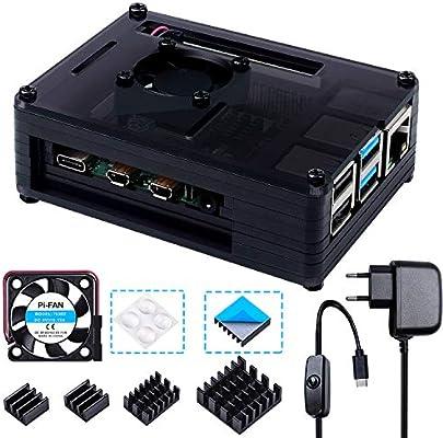 Bruphny Caja para Raspberry Pi 4, Caja con Cargador de 5V / 3A USB ...