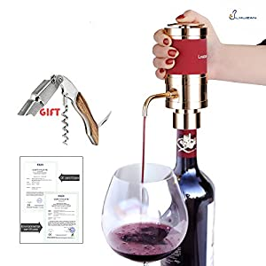 """Lxuzan Electric Wine Aerator Dispenser Decanter with Rosewood Waiters Corkscrew Portable Air Pressurized 6 AAA Battery-Operated Design 6""""h & Gold (New Packing)"""