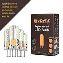Weanas® 4x G4 Base 48 LED Light Bulb Lamp 3014 SMD 3 Watt AC DC 12V/10-20V Low Voltage Crystal Silica Gel Undimmable Equivalent to 20W T3 Halogen Track Bulb Replacement 360° Beam Angle (White)